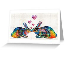 Bunny Rabbit Art - Hopped Up On Love - By Sharon Cummings Greeting Card