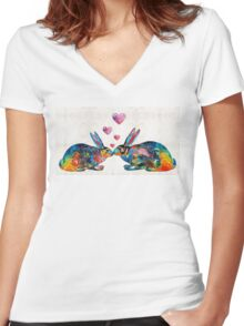 Bunny Rabbit Art - Hopped Up On Love - By Sharon Cummings Women's Fitted V-Neck T-Shirt