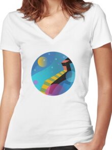 Stairway to Stars Women's Fitted V-Neck T-Shirt