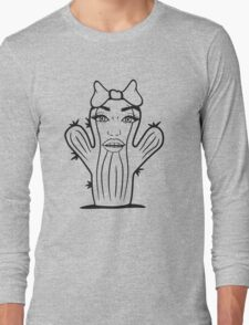 girl woman female girl face bow pretty sexy spines cactus small Long Sleeve T-Shirt