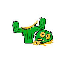 face funny horror halloween bloody murder from head decapitated blood evil cactus comic cartoon Photographic Print