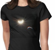 Partial eclipse of the sun with sun dog Womens Fitted T-Shirt