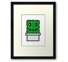 zocken face funny comic cartoon pixel nerd geek gamer videogame 2d 8 bit cactus design games Framed Print