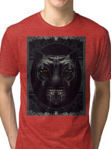 Creepy Mask Portrait with Ornate Borders Tri-blend T-Shirt