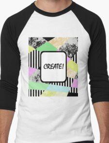 CREATE! - Pop art style, abstract, stripey, block colour, inspirational patterned art Men's Baseball ¾ T-Shirt