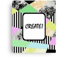 CREATE! - Pop art style, abstract, stripey, block colour, inspirational patterned art Canvas Print