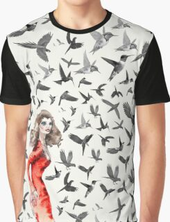 Barcelona Summer Bird Lady  Graphic T-Shirt
