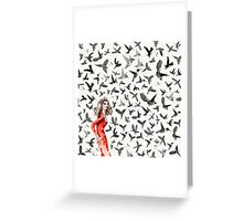 Barcelona Summer Bird Lady  Greeting Card