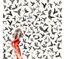 Barcelona Summer Bird Lady  Photographic Print