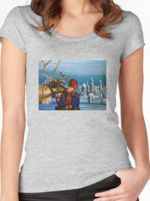 Deer Friends Of Finland Painting Women's Fitted Scoop T-Shirt