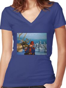 Deer Friends Of Finland Painting Women's Fitted V-Neck T-Shirt