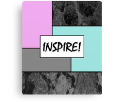 INSPIRE! - Abstract, geometric, marble effect, pink and blue pop art painting Canvas Print