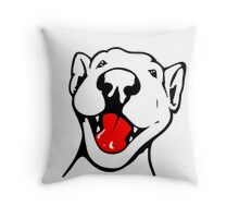 Happy Smiling English Bull Terrier Throw Pillow