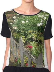 Fence and Flowers Chiffon Top