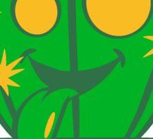 face, comic cartoon funny little beautiful flowerpot green cactus Sticker