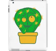 face, comic cartoon funny little beautiful flowerpot green cactus iPad Case/Skin