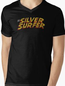 Silver Surfer - Classic Title - Dirty Mens V-Neck T-Shirt