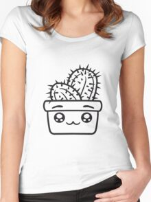 face baby comic cartoon cactus cactus flower pot cup small cute sweet green balcony Women's Fitted Scoop T-Shirt