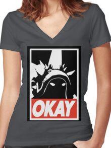 OKAY Rammus parody Women's Fitted V-Neck T-Shirt