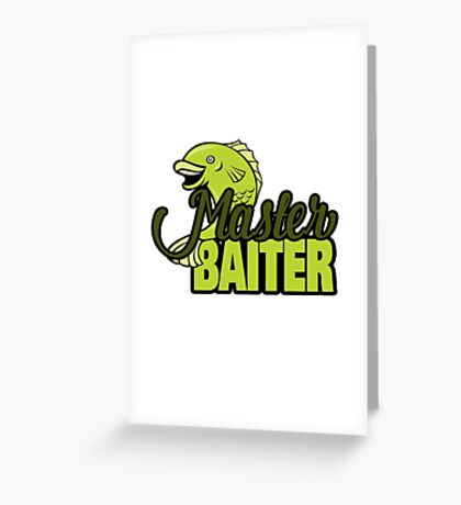 Funny Fishing Master Baiter Word Play Pun Greeting Card