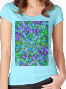 Floral Abstract Stained Glass Women's Fitted Scoop T-Shirt