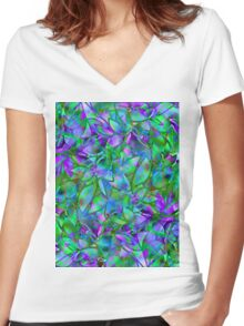 Floral Abstract Stained Glass Women's Fitted V-Neck T-Shirt