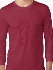Tribal like cat-Red Long Sleeve T-Shirt
