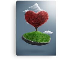 Heart tree on suspended rock Canvas Print