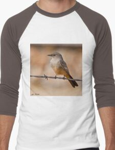 Say's Phoebe on a Barbed Wire Men's Baseball ¾ T-Shirt