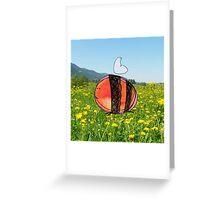 Orange Inky Bumble Bee Greeting Card