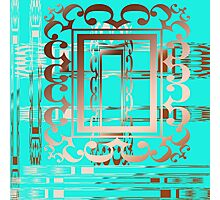 Turquoise and Copper Abstract Digital Art By Aimee L Maher Photographic Print
