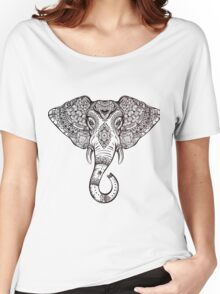 Vintage ornate ethnic elephant with tribal ornaments. Women's Relaxed Fit T-Shirt