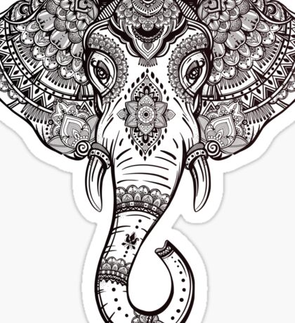 Vintage ornate ethnic elephant with tribal ornaments. Sticker