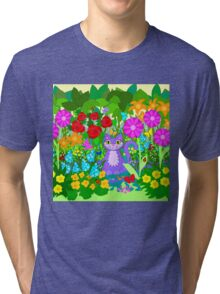 Cat in the Garden Butterflies Flowers Ladybugs Tri-blend T-Shirt