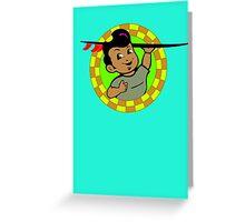 AMOK - retro surfer / surfboard Greeting Card
