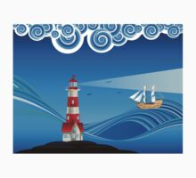 Lighthouse and Boat in the Sea 5 Baby Tee