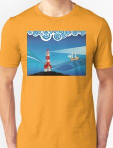 Lighthouse and Boat in the Sea 5 T-Shirt