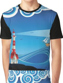 Lighthouse and Boat in the Sea 5 Graphic T-Shirt