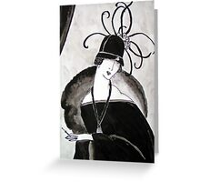 """*Ritzy"" Roaring Twenties Lady with cloche Greeting Card"
