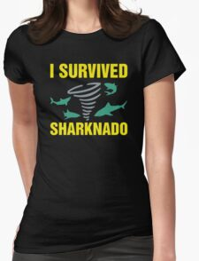 I survived sharknado Womens Fitted T-Shirt