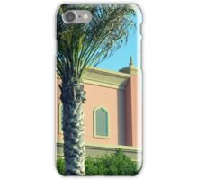 Pink Arabic building with ornaments and palm trees. iPhone Case/Skin