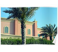 Pink Arabic building with ornaments and palm trees. Poster