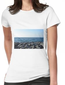 The sea and blue sky, and rocks at the shore. Womens Fitted T-Shirt