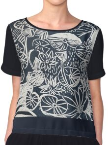 Lilypond Woodcut Graphic Block Chiffon Top