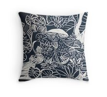 Lilypond Woodcut Graphic Block Throw Pillow