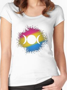 Pansexual Pride Triple Goddess Moon Women's Fitted Scoop T-Shirt