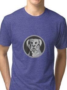 Rottweiler Guard Dog Head Circle Black and White Tri-blend T-Shirt