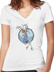 Skelly the Sailor Girl Women's Fitted V-Neck T-Shirt