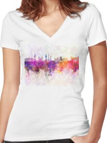 Lahore skyline in watercolor background Women's Fitted V-Neck T-Shirt