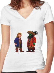 Guybrush & LeChuck (Monkey Island 2) Women's Fitted V-Neck T-Shirt